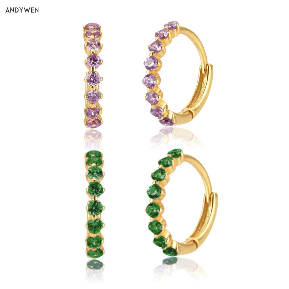 ANDYWEN 925 Sterling Silver 9.5mm Purple Green European Hoops Pendiente Huggies Luxury CZ Piercing Jewelry 2020 Fine Earring