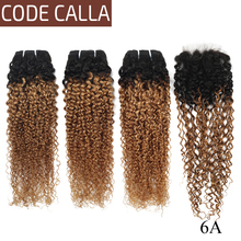 Code Calla Kinky Curly Hair Bundles With Closure 4X4 Free Part Ombre Color 6A Brazilian Remy 100% Human Hair Weaving For Africa стоимость