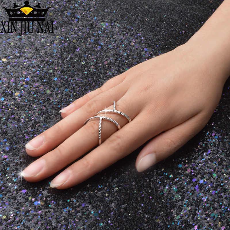 ออกแบบพิเศษCharmสัญญาแฟชั่นTwisted Elegant Twistแหวนผู้หญิงเต็มรูปแบบShiny CZ 925 เงิน
