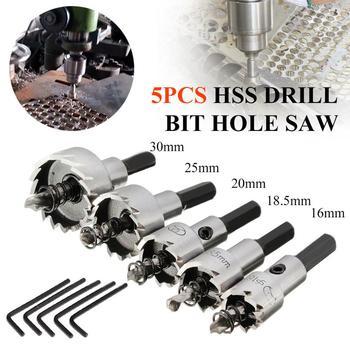 цена на Titanium Coated 5PCs 16-30mm HSS Drill Bit Hole Saw Stainless Steel Metal Alloy