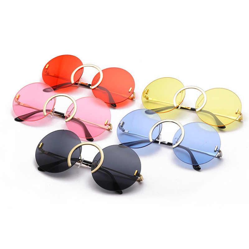 SO & EI Mode Einzigartige Nase Ring Runde Sonnenbrille Frauen Vintage Randlose Klar Ozean Objektiv Brillen Männer Sonnenbrille Shades UV400