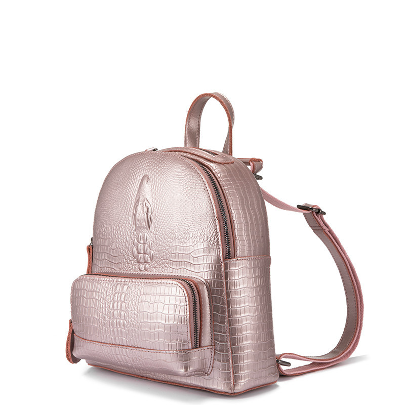 Backpack women Small Backpacks for girls teenagers split leather with crocodile prints ladies shoulder bags travel-in Backpacks from Luggage & Bags    1