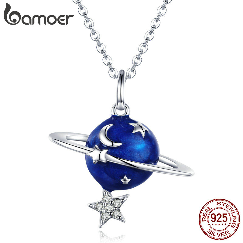 BAMOER Hot Sale 100% 925 Sterling Silver Secret Planet Moon Star Necklaces Pendants for Women Sterling Silver Jewelry BSN007Necklaces   -