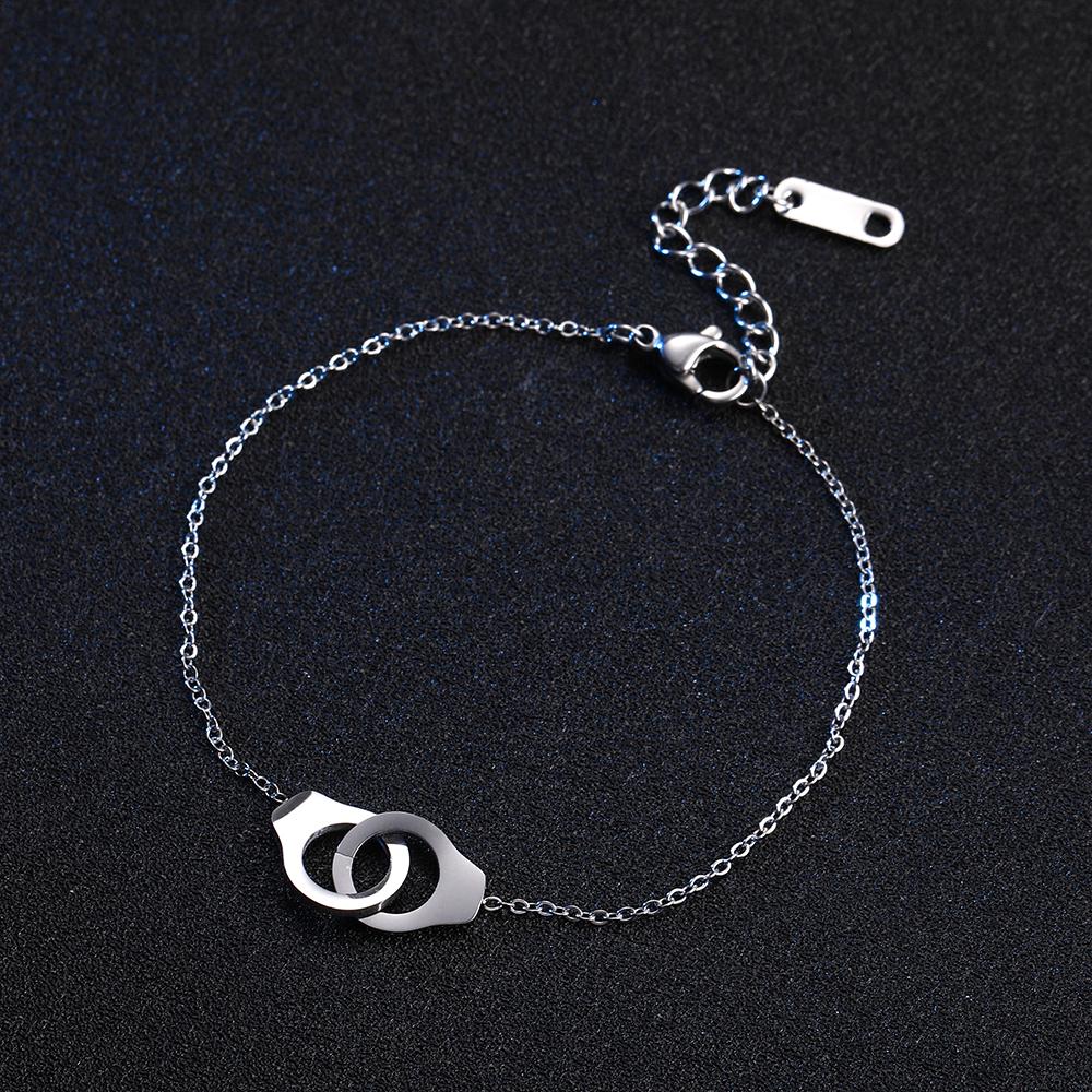 Stainless Steel Handcuff Charm Bracelet
