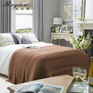 REGINA marki warkocz koc Khaki biały bawełny mieszanka akrylowe narzuta na łóżko dywan do domu amerykański styl Country Super przytulny narzuta na sofę