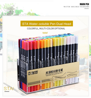 STA Water-soluble Pen Dual Head  Artist Soluble Color Sketch Marking Brush Set Drawing Design Paint Artistic Marking Supplies