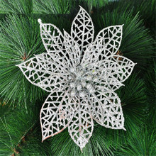 10Pcs/Set Glitter Christmas Hollow Flower Decoration Flowers For Trees New Year Wedding Party Decorations