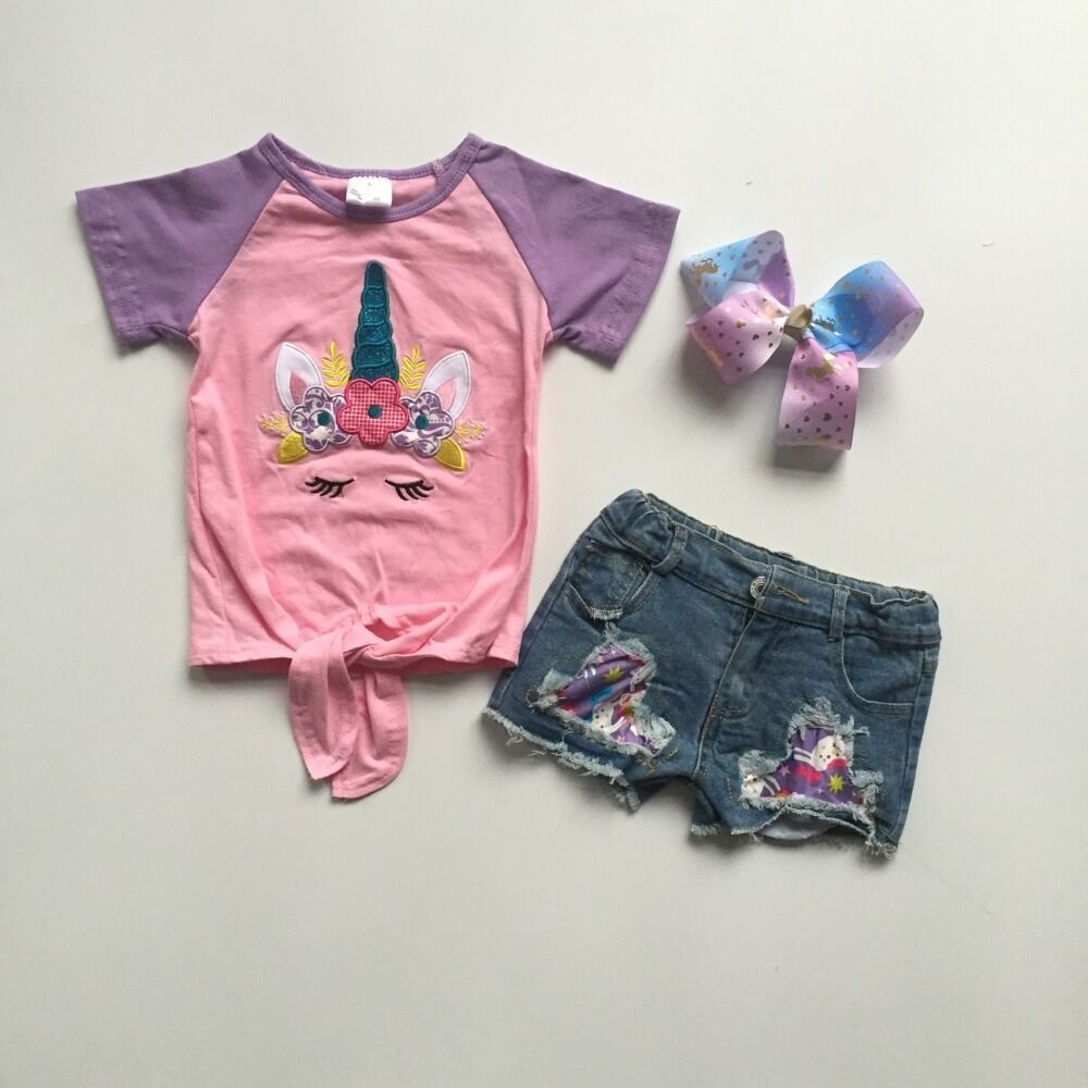 baby girls summer outfits  jeans shorts unicorn outfits girls boutique denim outfits with bow 1