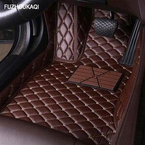 Leather car floor mats for renault logan megane 2 captur kadjar fluence laguna 2 scenic koleos Espace accessories carpet rugs(China)