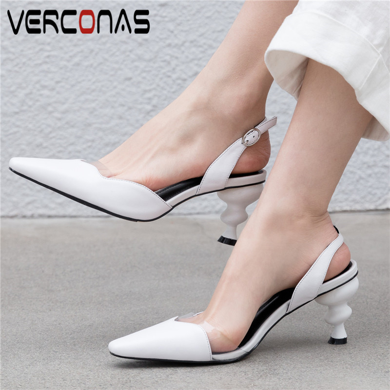 VERCONAS Women Top Quality Office Shoes Pointed Toe Slippers Summer High Heeled Sandals Popular Genuine Leather Shoes Woman