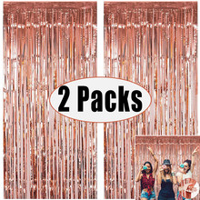 2 Pack Photo Booth Backdrop Metallic Foil Curtain Tinsel Backdrop Bachelorette Party Background for Wedding Birthday Baby Shower