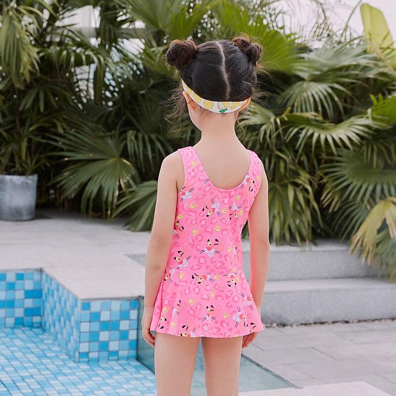 New Style Children Small CHILDREN'S Cartoon Pink Panther One-piece Flounced Skirt-Girls One-piece Cartoon Swimsuit