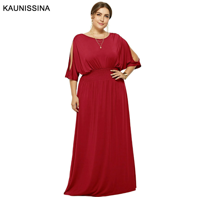 KAUNISSINA Plus Size Cocktail Dresses O-Neck Cold Batwing Sleeve Solid High Waist Straight Long Party Gown Homecoming Dress