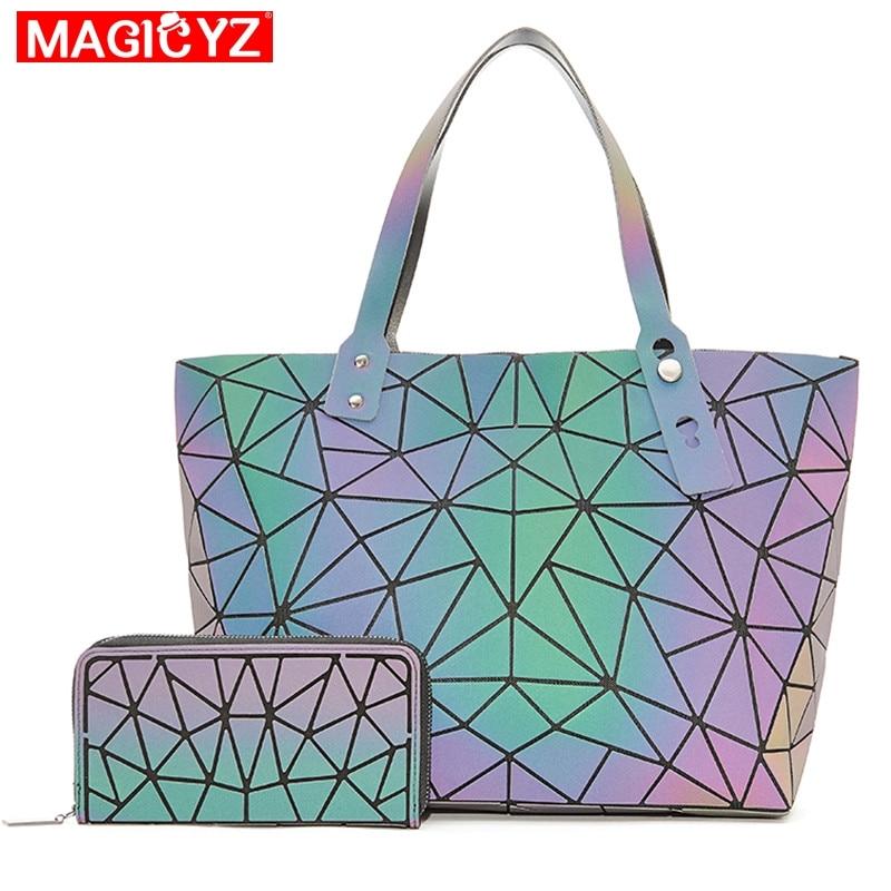 New Set Crossbody Bags For Women 2020 Fashion Luminous Handbag Lady Shopping Hand Bags Holographic Geometric Purses And Handbags