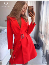 Women Sexy V-neck Slim Belted Blazer Dress Suit Temperament Office Fashion Long sleeve  Autumn New