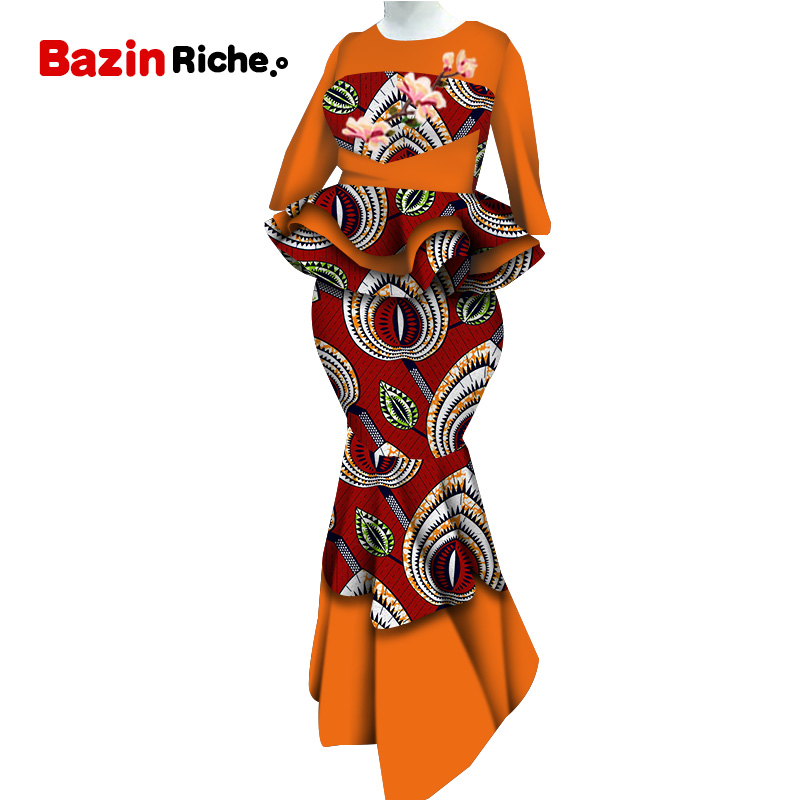 New Bazin Riche African Women Top And Skirts Sets African Wax Print 2 Pieces Skirts Sets Traditional African Clothing WY5556
