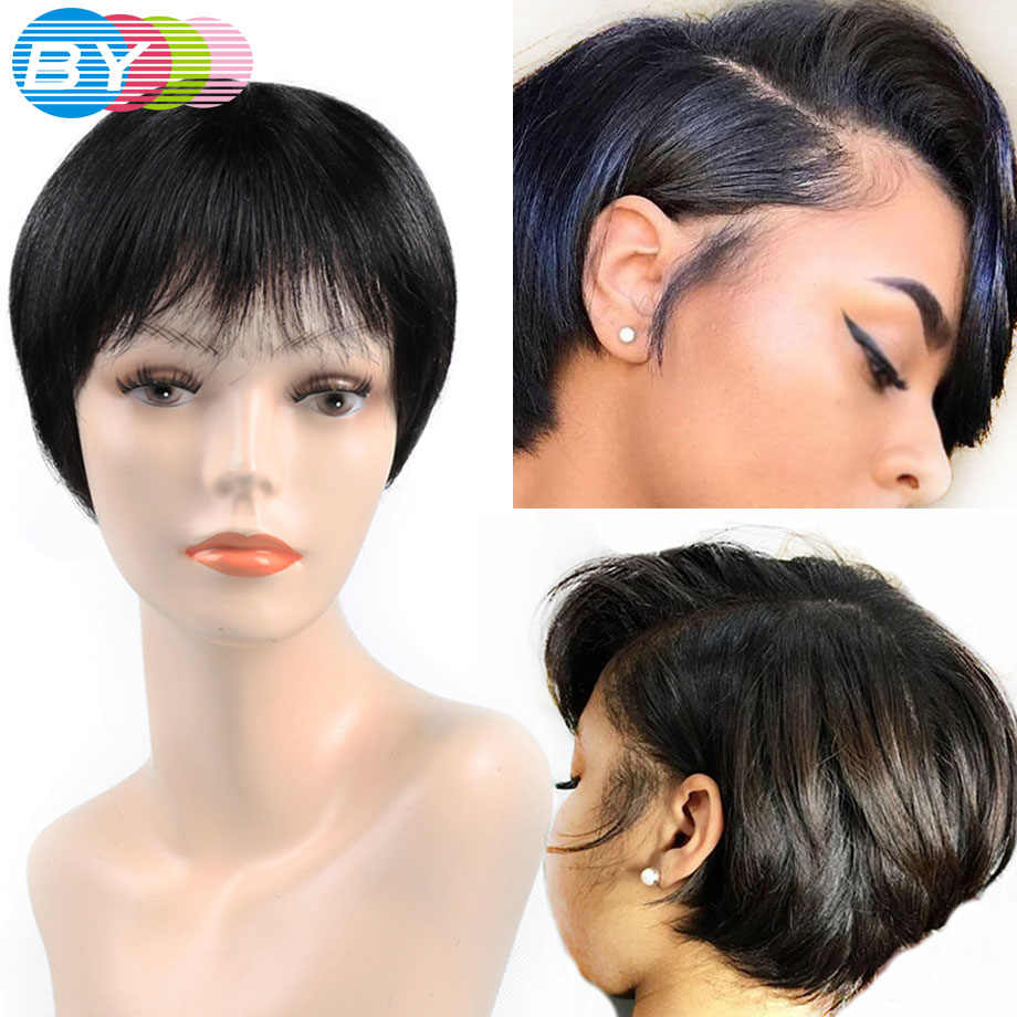 Brazilian Pixie Cut Wig Human Hair Wig With Bang Non Remy Cheap Short Human Hair Wigs For Black Women Bob Short Straight Wig BY