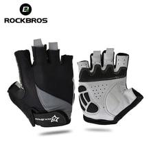 ROCKBROS Велоспортный против скольжения анти-пот Для мужчина женщина половины пальцев перчатки дышащие анти-шок спортивные перчатки MTB велосипедные перчатки