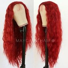 "Maycaur # 30b 진저 컬러 물결 모양의 합성 레이스 프론트 가발 내열성 섬유 glueless hair for black women 22 "" 24"""