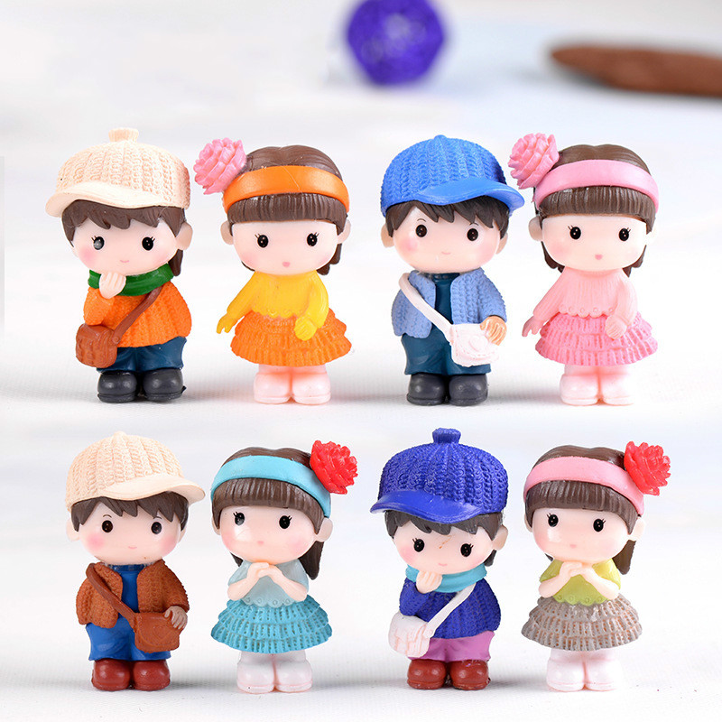 1Pair Cute Lovers Gnome Miniature Craft Gift Mini World Decoration Dollhouse Toy DIY Wedding Decor Fairy Garden Accessory