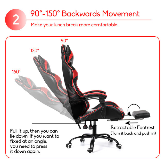 Wcg Computer Gaming Chair PVC Household Ergonomic Office Chair 150°lying Lift and Swivel Function Adjustable Footrest Armchair 3