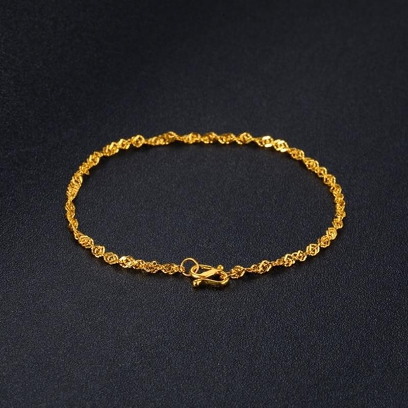 Solid 24K Yellow Gold Bracelet Women Luck Singapore Link Chain Bracelet