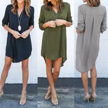 Nova moda sexy feminina outono casual manga longa camisa blusas chiffion casual camisas vestidos quentes 2020