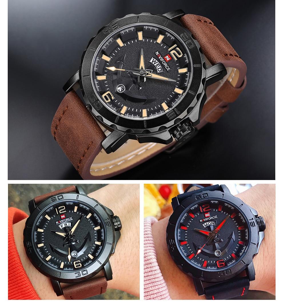 H4f865f7db0a045ed92c9c94a859062fey Top Luxury Brand NAVIFORCE Mens Sport Watches Casual Leather Strap Waterproof Military Quartz WristWatch Clock Male Reloj Hombre