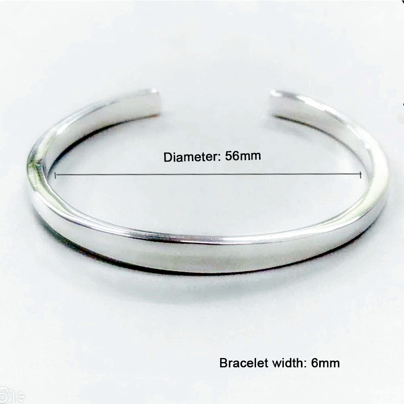 XIYANIKE 925 Sterling Silver New Fashion Glossy Solid Bracelets Bangles For Women Adjustable Handmade Charm Jewelry Gifts 2