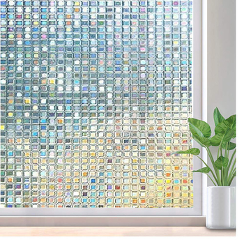 LUCKYYJ 3D Privacy Stained  Window Film Decorative, Frosted Glass Sticker Anti-UV, for Home Kitchen Office