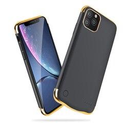 Para o iphone 11 Chapeamento Fino à prova de choque Caso Carregador de Bateria Para iPhone 11 Pro Max Recarregável Power Bank Carregamento Capa Capa