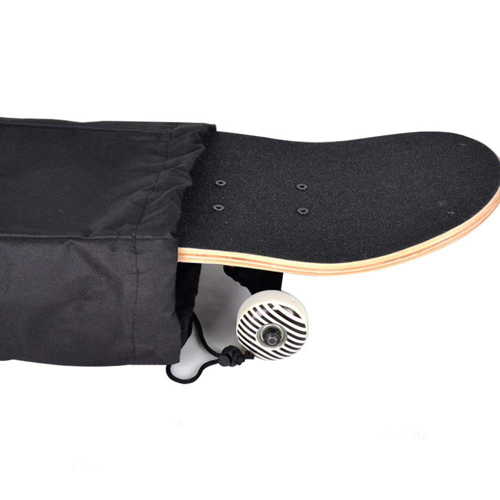Black Longboard Accessories Solid Adjustable Travel Waterproof Shoulder Cover Skateboard Bag Backpack Oxford Cloth Unisex
