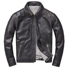 Европейская тонкая настоящая ковбойская кожаная куртка, пальто большого размера 4XL, большие и высокие мужские Куртки из натуральной кожи, мотоциклетная одежда A924