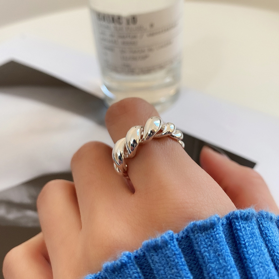 Lispector 925 Sterling Silver Korean Twist Weave Ring for Women Minimalist Twine Double Layer Thick Wrap Rings Rock Punk Jewelry