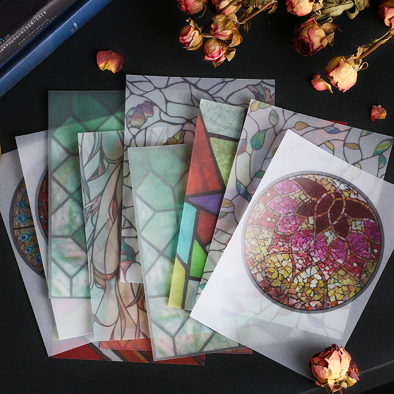 30pcs/lot Retro European Gothic Cathedral Glass Window Vintage Collage Material Paper Decorative Sticker DIY Scrapbooking Diary