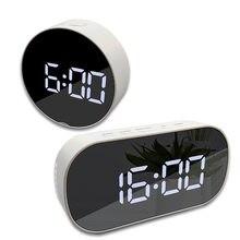 Runde Led Spiegel Wecker Digitale Tisch Uhr Nacht Licht Snooze mit Temperatur Elektronische Dual Zweck Uhr Home Decor