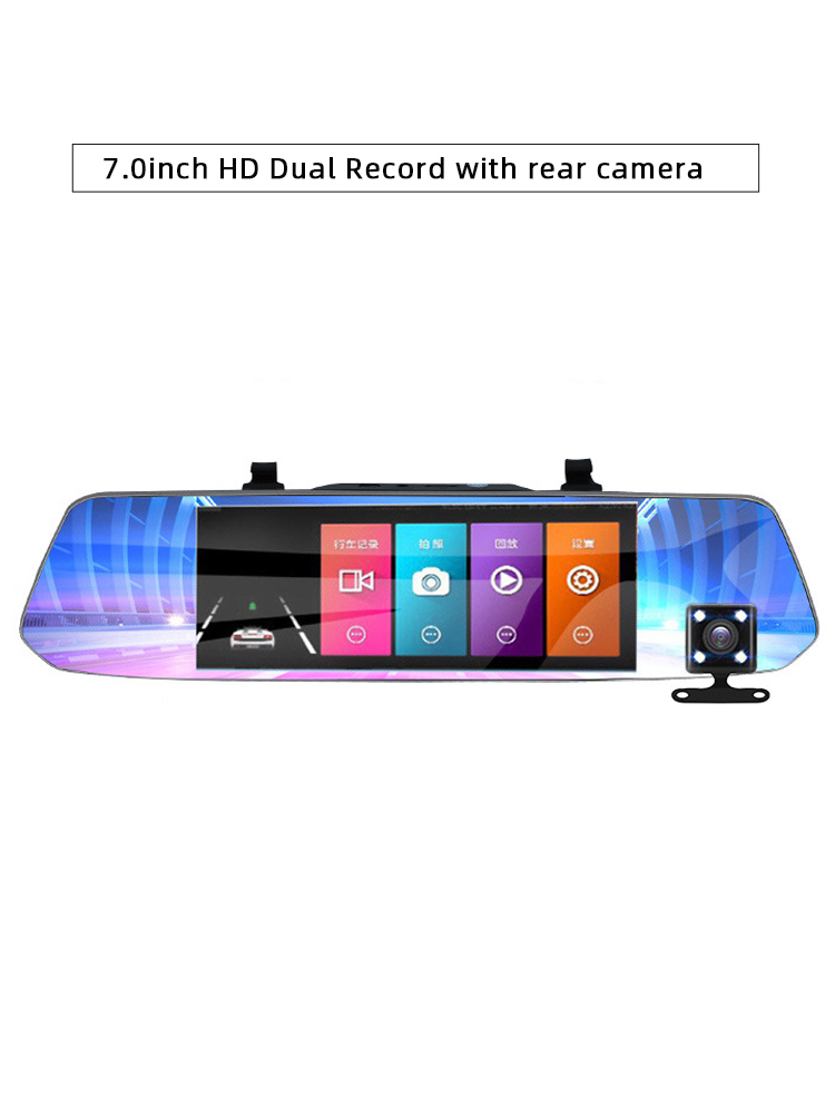 Car DVR Video-Recorder Rearview-Mirror Dash-Camera Hd-Screen Dual-Lens Night-Vision 1080P