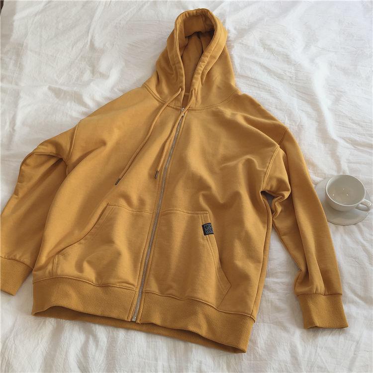 Harajuku with hat hoodies women zipper kangaroo pocket casual loose solid color sweatshirt female 2020 fashion new female tops 11