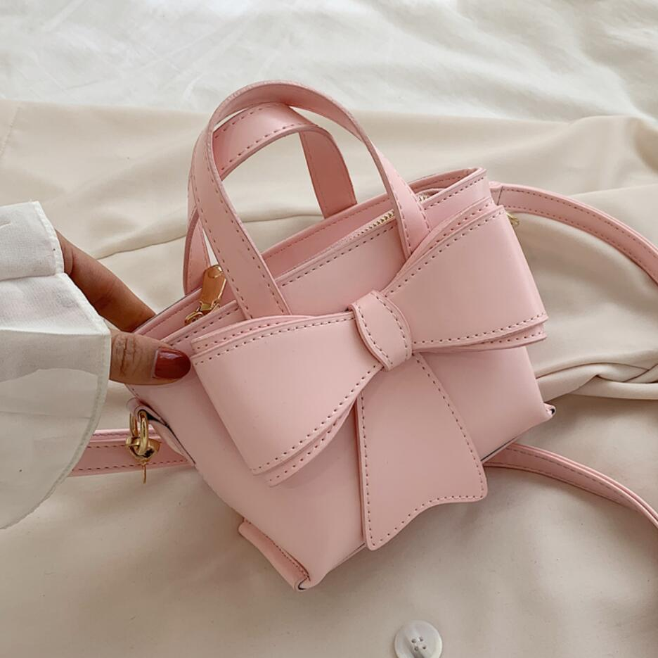 Cute Lady Bow Small Tote Bag 2020 Fashion New High Quality PU Leather Women's Designer Handbag Travel Shoulder Messenger Bag