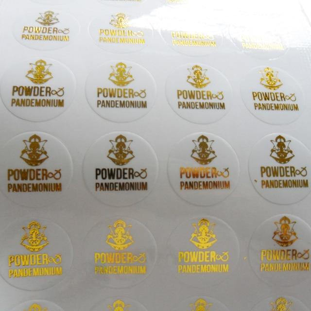 custom logo design transparent clear pvc label sticker with metallic silver/gold/black/red/purple/blue/rose foil stamp printing