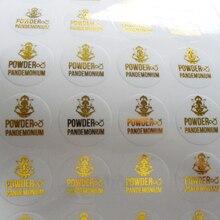 Özel logo tasarım şeffaf şeffaf pvc etiket etiket metalik gümüş/altın/siyah/kırmızı/mor/mavi/gül folyo damga baskı
