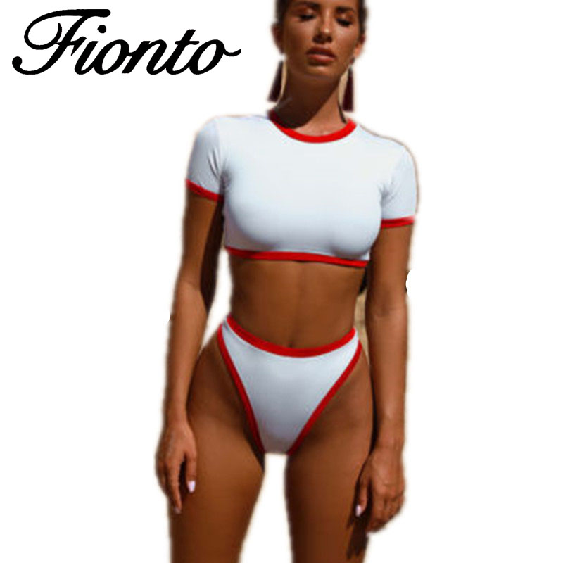 Sexy Swimsuit Bikini Matching Half-Sleeve High-Waist Casual Fabric Soft-Pack Split New-Fashion