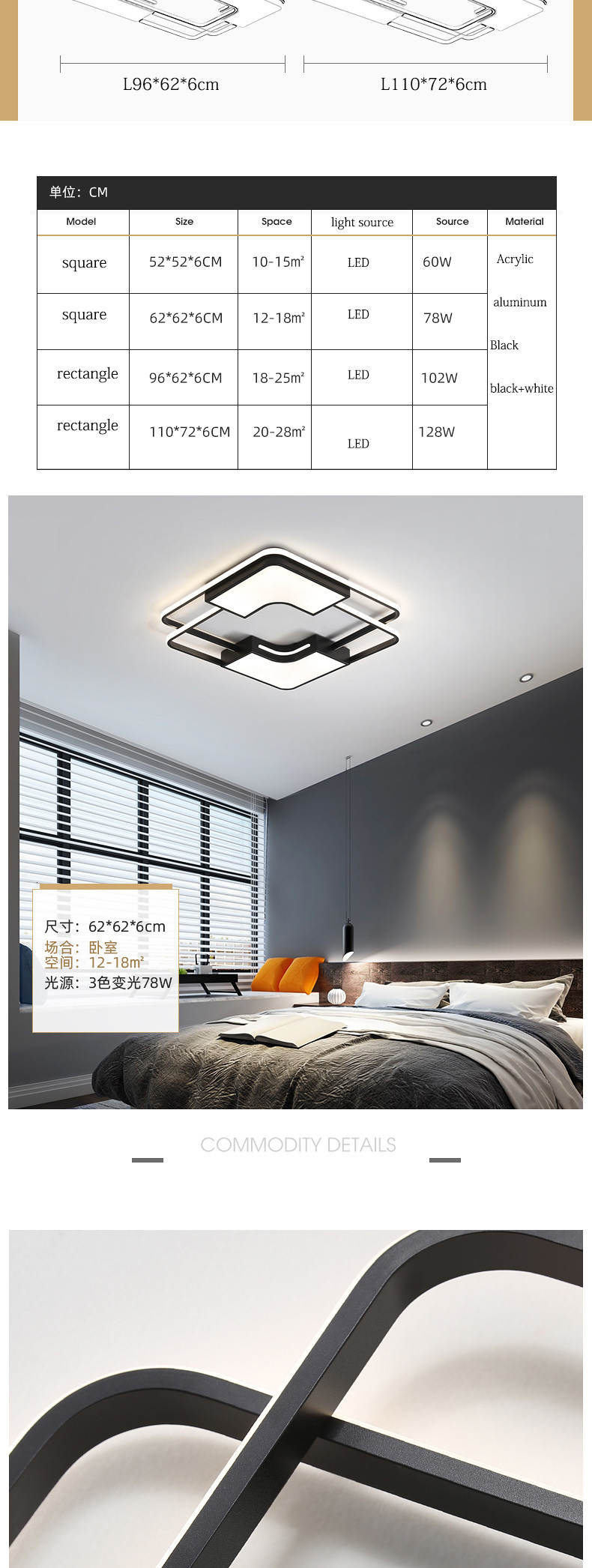 H4f8722f08159477083732ae8615c30d7K Modern Flush Ceiling Lights | White Ceiling Lights | New Listing Square Modern LED Ceiling Lights For Living Room Bedroom Study Home indoor Acrylic Black White Ceiling Lamp Fixture 001