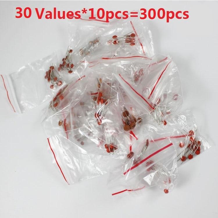 Ceramic Capacitor Kit 30 Values*10pcs=300pcs 2pf To 0.1uf 50V Assortment Pack Assorted Kit Set 103 104 100P 472 22P 30P 220P