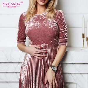 Image 5 - S.FLAVOR kobiety Slim aksamitna sukienka moda jesień rękaw 3/4 Vintage plisowane sukienki Winter Party Vestidos De