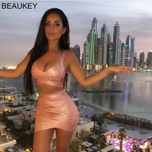 BEAUKEY Quality 2 Piece Set Shinny Metallic Rose Gold Bandage Bodycon Top & Skirt 2019 New Mini Short Sexy Party Night Club Set