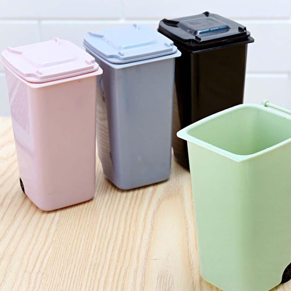 Mini Wheelie Trash Can Storage Bin Desktop Organizer Pen Pencil Cup Creative