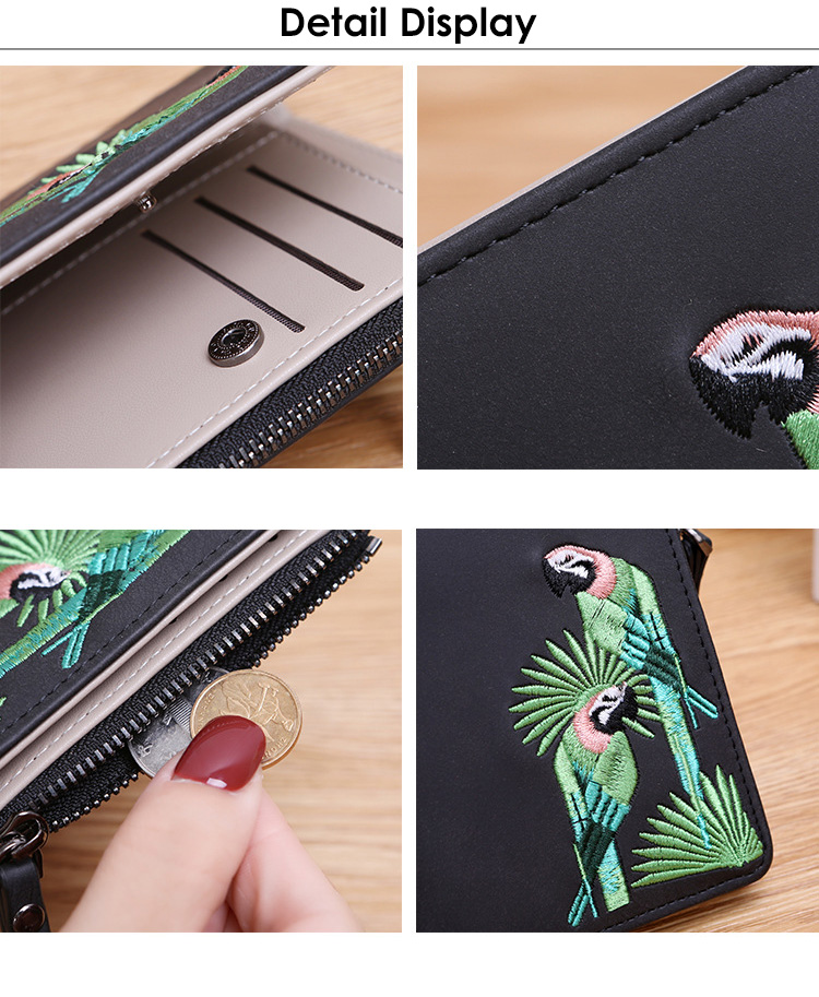 H4f8774b5bf5b4668bf41355473275debO - Women's Coin Wallet | Bird Embroidered