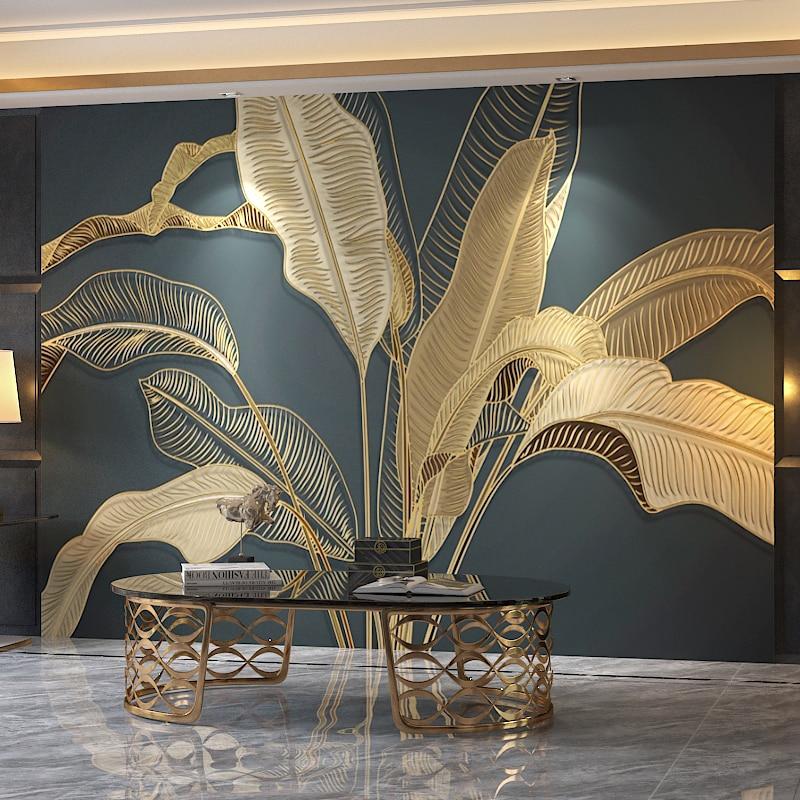 Foto de pared personalizada, papel 3D en relieve Retro, Gran Mural de hoja de plátano, sala de estar, dormitorio, papel tapiz de lujo, decoración de pared del hogar, pintura