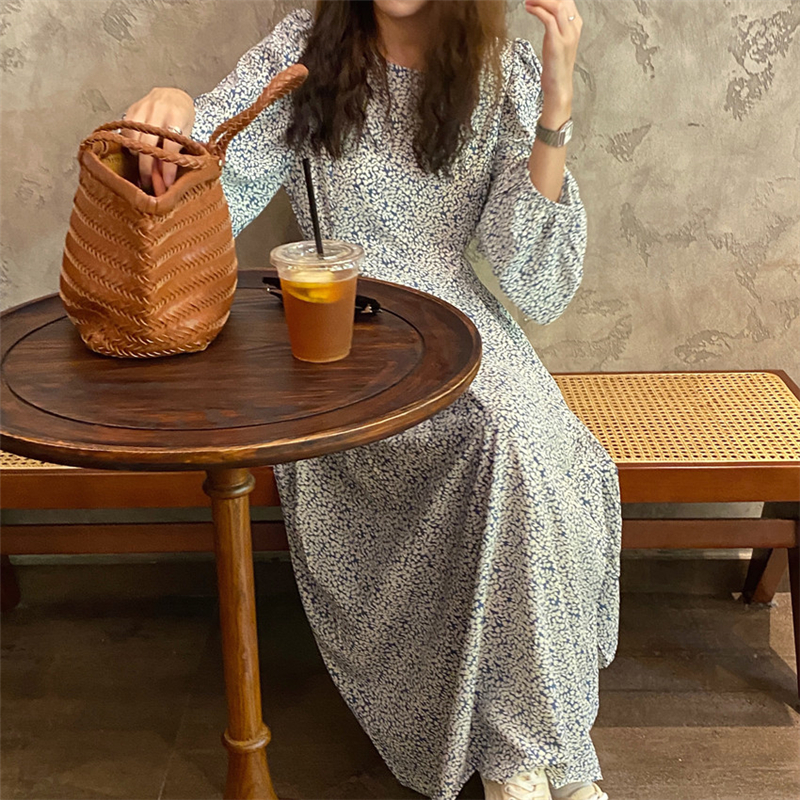 H4f87afebc1bc454b8f49a3d5fd018422K - Autumn O-Neck Lantern Long Sleeves Floral Print Midi Dress